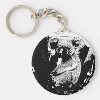 Koala in Black and White Key Ring