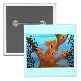 Koala Love 15 Cm Square Badge