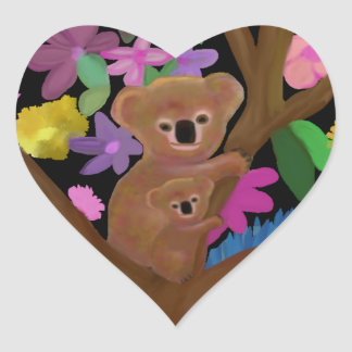 Koala Luv Heart Stickers