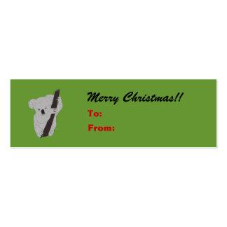 Koala Merry Christmas Holiday Gift Tag Business Card Templates
