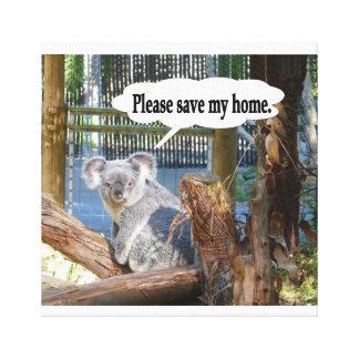 "Koala ""Please Save my home"". Canvas Prints"