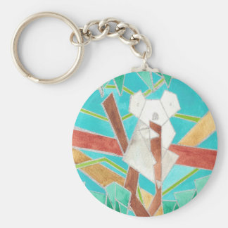 Koala Watercolor Art Basic Round Button Key Ring