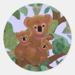 Koalas in the Eucalyptus Round Sticker