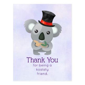Koalaty Friend Pun Cute Koala in Top Hat Postcard