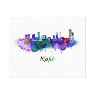 Kobe skyline in watercolor canvas print