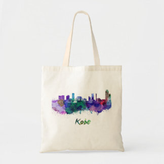 Kobe skyline in watercolor tote bag