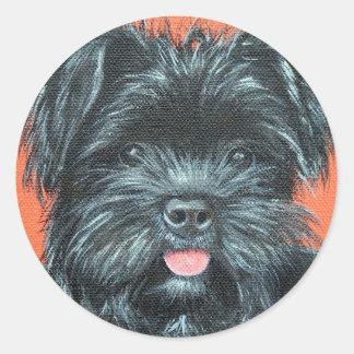 Koda - Terrier Painting Classic Round Sticker
