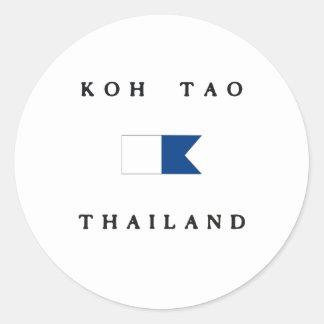 Koh Tao Thailand Alpha Dive Flag Round Sticker