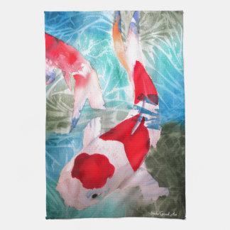 Kohaku Koi 2 Japanese watercolor fish art Tea Towel