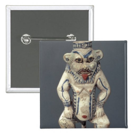 Kohl Pot, depicting the Egyptian household god Bes Pinback Button