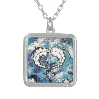 koi at play 2 silver plated necklace