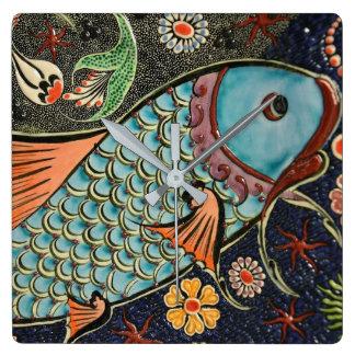 Koi Carp Fish Scale Ceramic Pattern Square Wall Clock