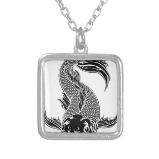 Koi Carp Fish Woodcut Style Silver Plated Necklace
