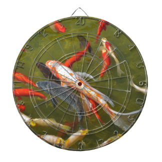 Koi carps in pond dartboard