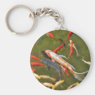 Koi carps in pond key ring
