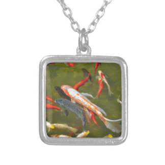 Koi carps in pond silver plated necklace