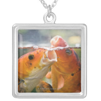 Koi carps silver plated necklace