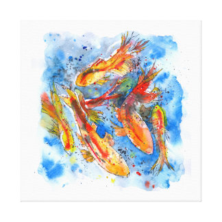 Koi fish paintings wrapped canvas prints for Koi canvas print