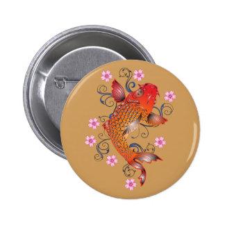 Koi fish 6 cm round badge