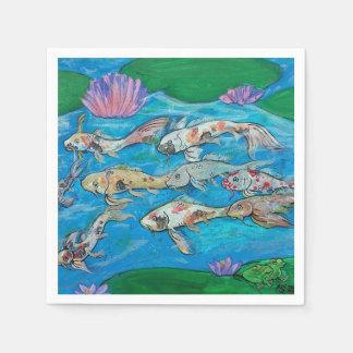 Koi Fish and Frog Pond Napkins Paper Napkin