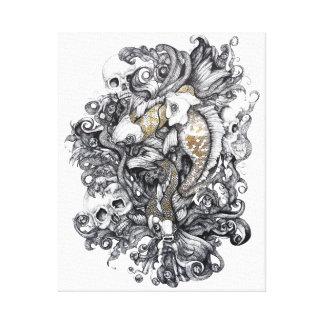 Koi Fish and Skulls Canvas Print