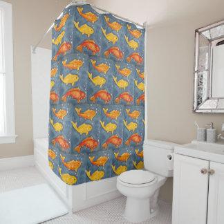 Koi Fish Art Blue Yellow Orange Shower Curtain