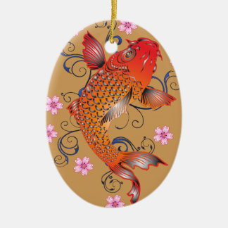 Koi fish ceramic oval decoration