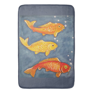 Koi Fish Goldfish Bluie Yellow Bath Mat Decor