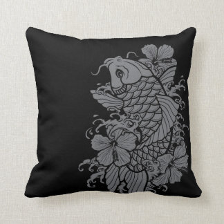 Koi Fish Gray on Black Cushion