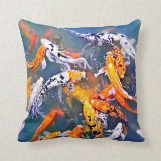 Koi fish in pond throw cushion