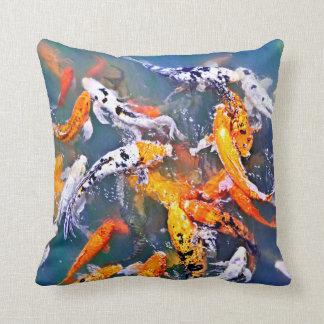 Koi fish in pond throw pillow