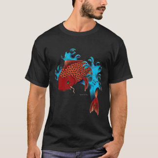 Koi fish jumping in the water. Tattoo design. T-Shirt