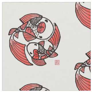 Koi Fish Motif Fabric