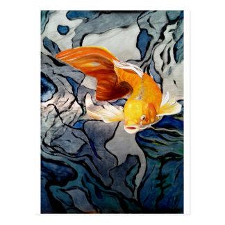Koi fish on metal 'Swimming Through Colors' Postcard