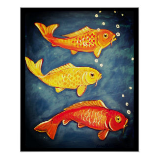Koi Fish Orange Yellow Blue Goldfish Art Poster