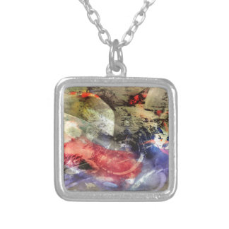 Koi Fish Pond Abstract Antique Plate Silver Plated Necklace