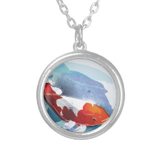 Koi fish silver plated necklace
