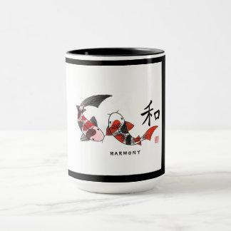 Koi Fish with Harmony Character Ceramic  Mug
