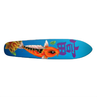 Koi Fish & Yellow Lotus Skateboard Oldschool