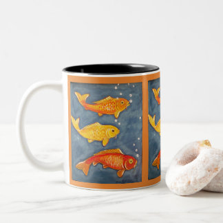 Koi Goldfish Art Orange Coffee Mug