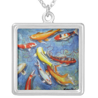 Koi in Lotus Pond Silver Necklace