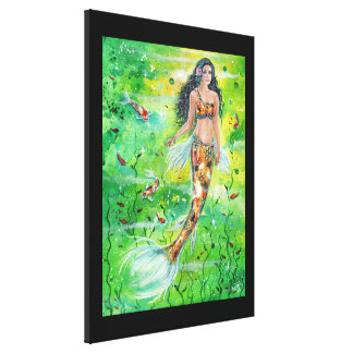 Koi Lily mermaid canvas print by Renee Lavoie