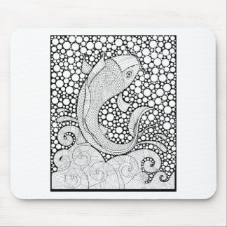 Koi Line Art Design Mouse Pad