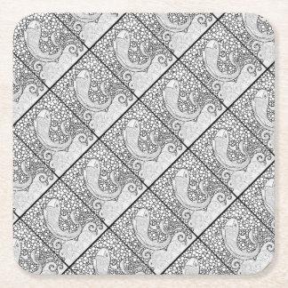 Koi Line Art Design Square Paper Coaster