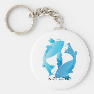 Koi Love Basic Round Button Key Ring