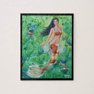 koi mermaid with koi fish puzzle by Renee Lavoie