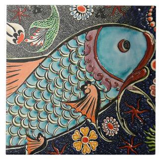 Koi Mosaic Large Square Tile