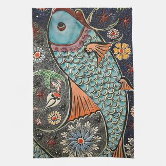 Koi Mosaic Tea Towel