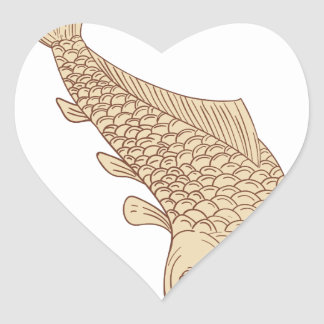 Koi Nishikigoi Carp Diving Down Drawing Heart Sticker
