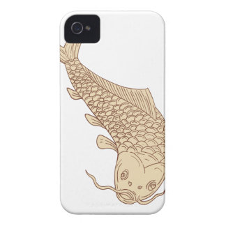 Koi Nishikigoi Carp Diving Down Drawing iPhone 4 Case